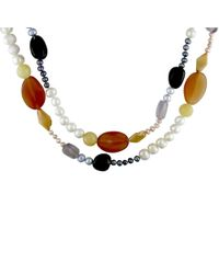 Catherine Malandrino | Black Freshwater Cultured Pearl And Multi-gemstone Endless Necklace | Lyst