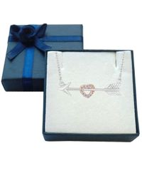JewelryAffairs - White Sterling Silver Arrow With Rose Tone Finish Cz Heart Necklace, 18 - Lyst