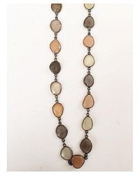 Blue Candy Jewelry - Gray Peach And Grey Moonstone Necklace - Lyst