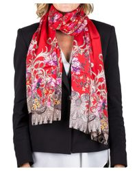 Roberto Cavalli - Red Women's Floral Print Silk Scarf Large - Lyst
