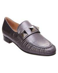 Valentino - Rockstud Metallic Leather Loafer - Lyst