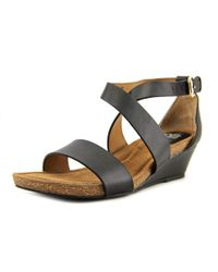 Söfft - Black Vita Open Toe Leather Wedge Sandal - Lyst