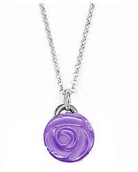 Jan Leslie | Purple Small Amethyst Gemstone Rose Pendant / Charm Necklace | Lyst
