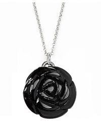 Jan Leslie | Small Black Onyx Gemstone Rose Pendant / Charm Necklace | Lyst