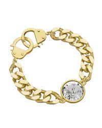 Eklexic   Metallic Crystal Curb Chain & Handcuff Clasp Bracelet (gold)   Lyst