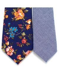 General Knot & Co - Vintage English Rose & Blue Shirting Skinny Necktie for Men - Lyst