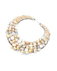 Nakamol | Multicolor Crystal Bib Couture Necklace-cream | Lyst