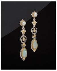 Konstantino - Metallic 18k & Silver 2.00 Ct. Tw. Agate & 3-4mm Pearl Drop Earrings - Lyst