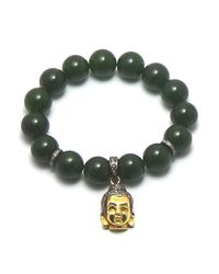 Joyce Gold Designs - Green Jade Bracelet 12mm With Pave Set Champagne Diamond Beads And 24kt Vermeil Buddha With Champagne Diamonds, Approximately 1 Ct. - Lyst