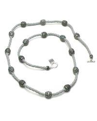 Otazu | Metallic Foliage Mix Swarovski Crystal Balls On Leather Necklace | Lyst
