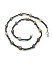 Otazu | Black Foliage Mix Swarovski Crystal Balls On Leather Necklace | Lyst