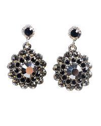 Otazu - Black Clear Swarovski Crystal Flower Drop Earring - Lyst