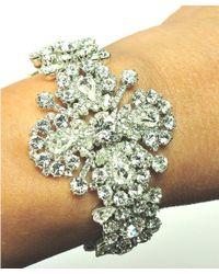Otazu - White Swarovski Crystal Floral Motif Pendant On Crystal Chain - Lyst