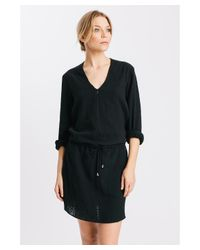 Karen Zambos   Black Linen Drawstring James Dress   Lyst