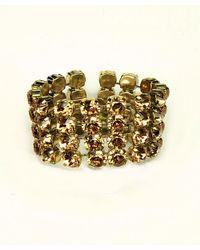 Otazu - Metallic Four Row Cupchain Swarovski Crystal Bracelet - Lyst