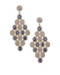 Vanhi | Gold Vermeil Diamond & Blue Sapphire Chandelier Earrings | Lyst