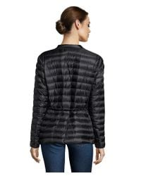 Moncler | Black Quilted Belted Zip Front Down Jacket | Lyst