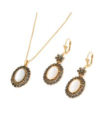 Peermont | Metallic Gold And Marcasite Drop Earrings And Pendant Necklace Set | Lyst
