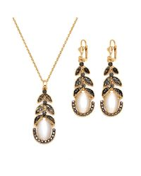 Peermont | Black And White Swarovski Elements Vine Drop Earrings And Pendant Necklace Set | Lyst