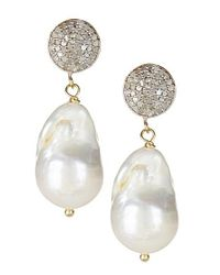 Vanhi   White Gold Vermeil Diamond & Baroque Pearl Dangle Earrings   Lyst