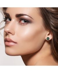 Socheec - Green Emerald And Diamond Round Earrings - Lyst