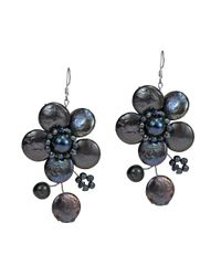 Aeravida | Black Lace Sakura Cultured Freshwater Pearl Flower .925 Silver Earrings | Lyst