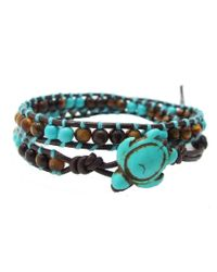 Aeravida | Brown Ocean Sea Turtle Reconstructed Turquoise Double Wrap Leather Bracelet | Lyst