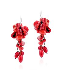 Aeravida | Cluster Drop Reconstructed Red Coral .925 Silver Earrings | Lyst