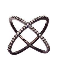 Adornia | Black Silver And Swarovski Crystal Crossover Ring | Lyst