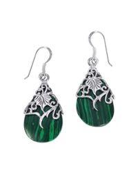 Aeravida | Green Floral Vine Ornate Teardrop Stone .925 Silver Earrings | Lyst