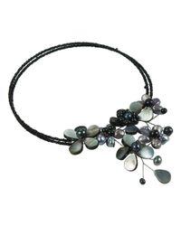 Aeravida - Black Multi Flower Pearl Cluster Choker Wire Wrap Necklace - Lyst