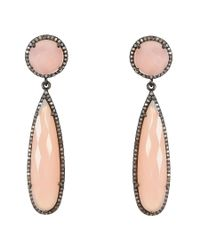 Adornia | Pink Chalcedony And Champagne Diamond Gillian Earrings | Lyst
