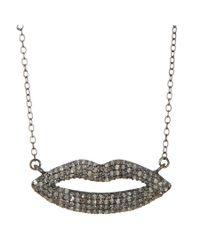 Adornia | Metallic Champagne Diamond Coco Lips Necklace | Lyst