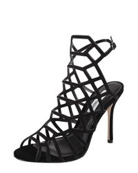 Steve Madden | Black Slithur Embossed Caged Sandals | Lyst