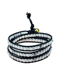Aeravida - White Triple Wrap Stone And Leather Fusion Bracelet - Lyst