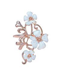 Aeravida - Natural Exotic Plumeria In Bloom Rose Vermeil Solid .925 Silver Ring - Lyst