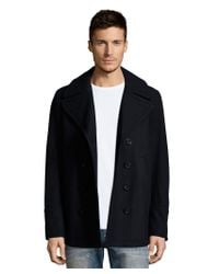 Burberry - Blue Brit Navy Wool Blend 'eckford' Double Breasted Peacoat for Men - Lyst