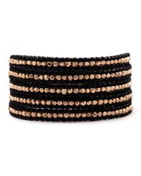 Chan Luu | Rose Gold Wrap Bracelet On Black Leather | Lyst