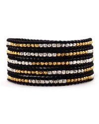 Chan Luu | Gold Toned And Sterling Silver Wrap Bracelet On Black Leather | Lyst