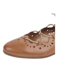 Progetto - Brown Perforated Lace Up Flat - Lyst