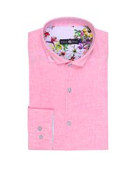 Stone rose pink pastel linen button down shirt in pink for for Pastel pink button down shirt