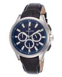 Lancaster Italy - Black Women's Apollo Chrono Blue Genuine Leather Blue Dial Ss - Lyst