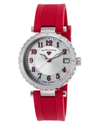 Swiss Legend - Pink Sea Breeze Diamonds Red Silicone Silver-tone And Mop Dial Ss - Lyst