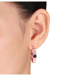 Versace - Pink Logo Mark Hoop Earrings Set With Smokey Quartz In 18k Rose Gold Plated Sterling Silver - Lyst
