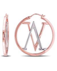Versace - Metallic Insignia Hoop Earrings In Sterling Silver With 18k Rose Gold Plating - Lyst