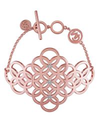 Catherine Malandrino | Pink 18k Rose Gold Plated Circle Linked Cluster Bracelet | Lyst