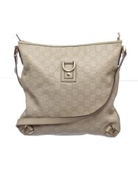 Gucci | White Pre Owned - Ivory Ssima Monogram Leather Crossbody Messenger Bag | Lyst