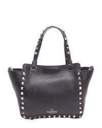 Valentino - Black Leather 'rockstud' Convertible Tote - Lyst