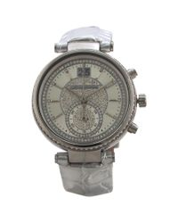 Michael Kors - Mk2443 Chronograph Sawyer Metallic Silver Croc-embossed Leather Strap Watch for Men - Lyst