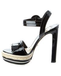Prada - Black Microsole Patent Platform Sandal - Lyst